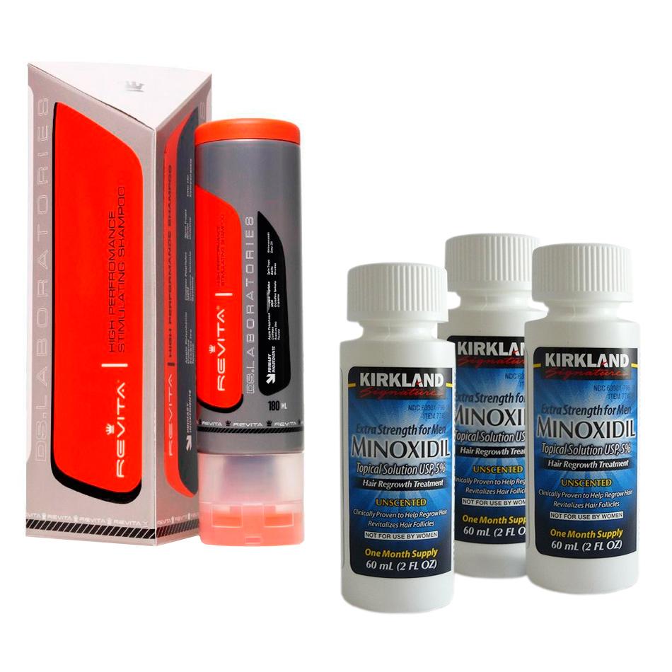 Kit Minoxidil Kirkland e Shampoo Revita